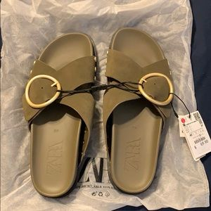 Zara Olive Green Sandals